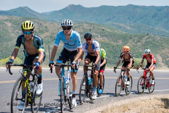 Riders pace the steep ramps up Mount Nebo. Stage 2, 2018 LHM Tour of Utah cycling race (Photo by Dave Richards, daverphoto.com)