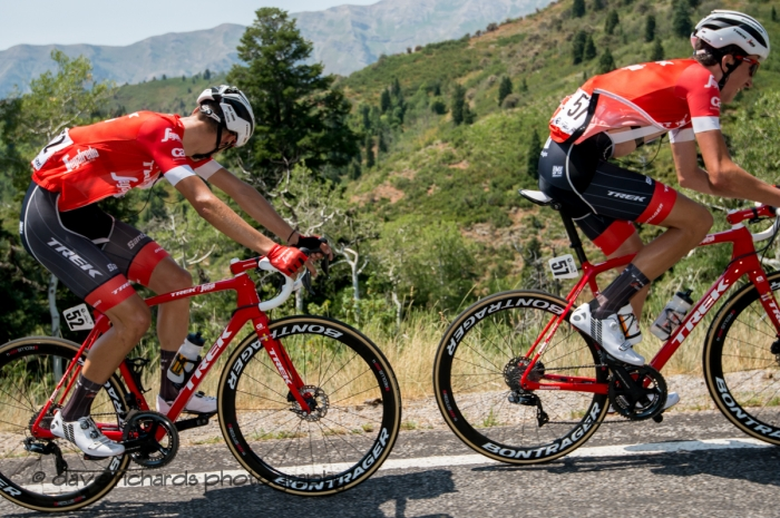 Trek-Segafredo riders bright red bikes contrast with the green slopes along the climb up Mount Nebo. Stage 2, 2018 LHM Tour of Utah cycling race (Photo by Dave Richards, daverphoto.com)