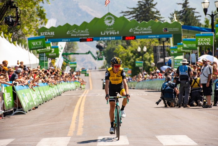 Sepp Kuss takes the stage win, and with it the leader's jersey. 2018 Tour of Utah Stage 2, August 8, 2018, Payson, Utah. Photo by Steve Sheffield, flahute.com