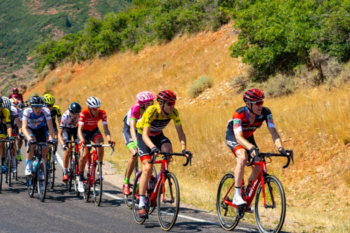 The main chase is led by BMC, trying to protect Tejay van Garderen's yellow jersey. 2018 Tour of Utah Stage 2, August 8, 2018, Payson, Utah. Photo by Steve Sheffield, flahute.com