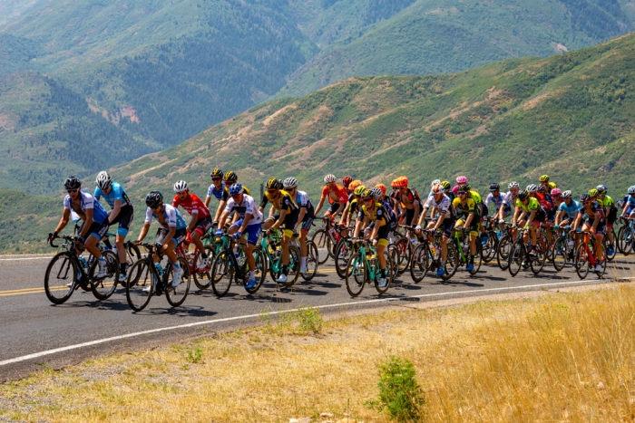 The grupetto, which at this point was larger than the peloton, climbing Mount Nebo. 2018 Tour of Utah Stage 2, August 8, 2018, Payson, Utah. Photo by Steve Sheffield, flahute.com