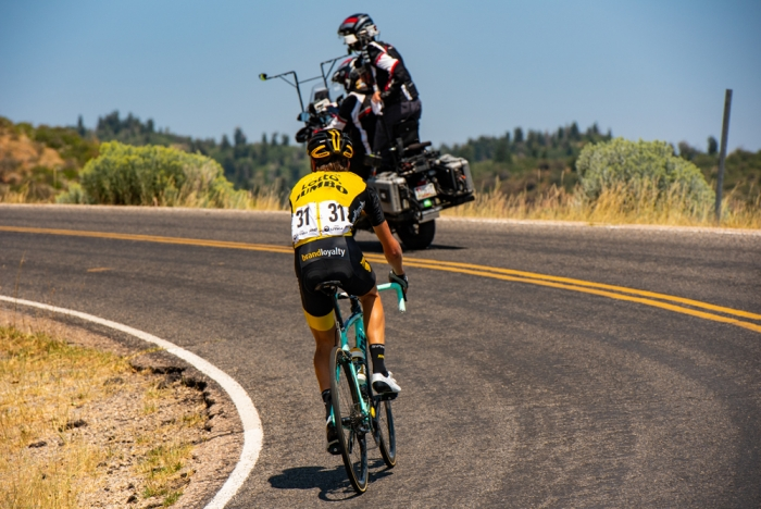Sepp Kuss (LottoNL-Jumbo) on the attack on Mount Nebo. 2018 Tour of Utah Stage 2, August 8, 2018, Payson, Utah. Photo by Steve Sheffield, flahute.com