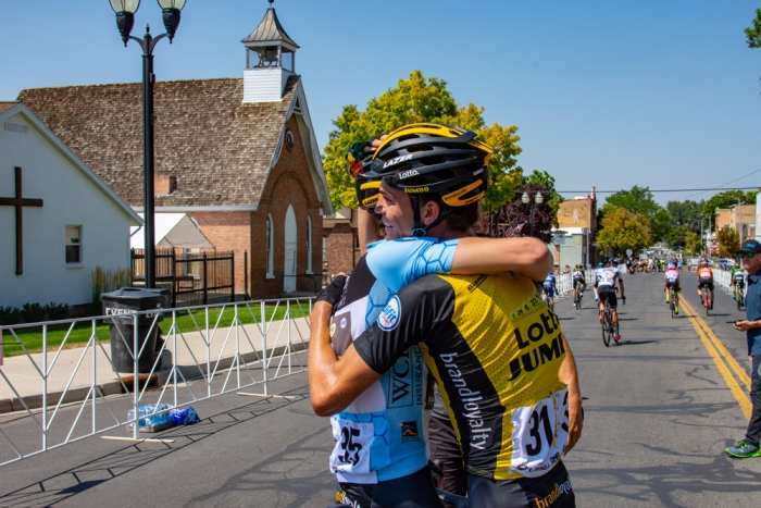 Stage winner and new leader Sepp Kuss, and 2nd place finisher and Best Young Rider Neilson Powless congratulate each other after the finish line. 2018 Tour of Utah Stage 2, August 8, 2018, Payson, Utah. Photo by Steve Sheffield, flahute.com