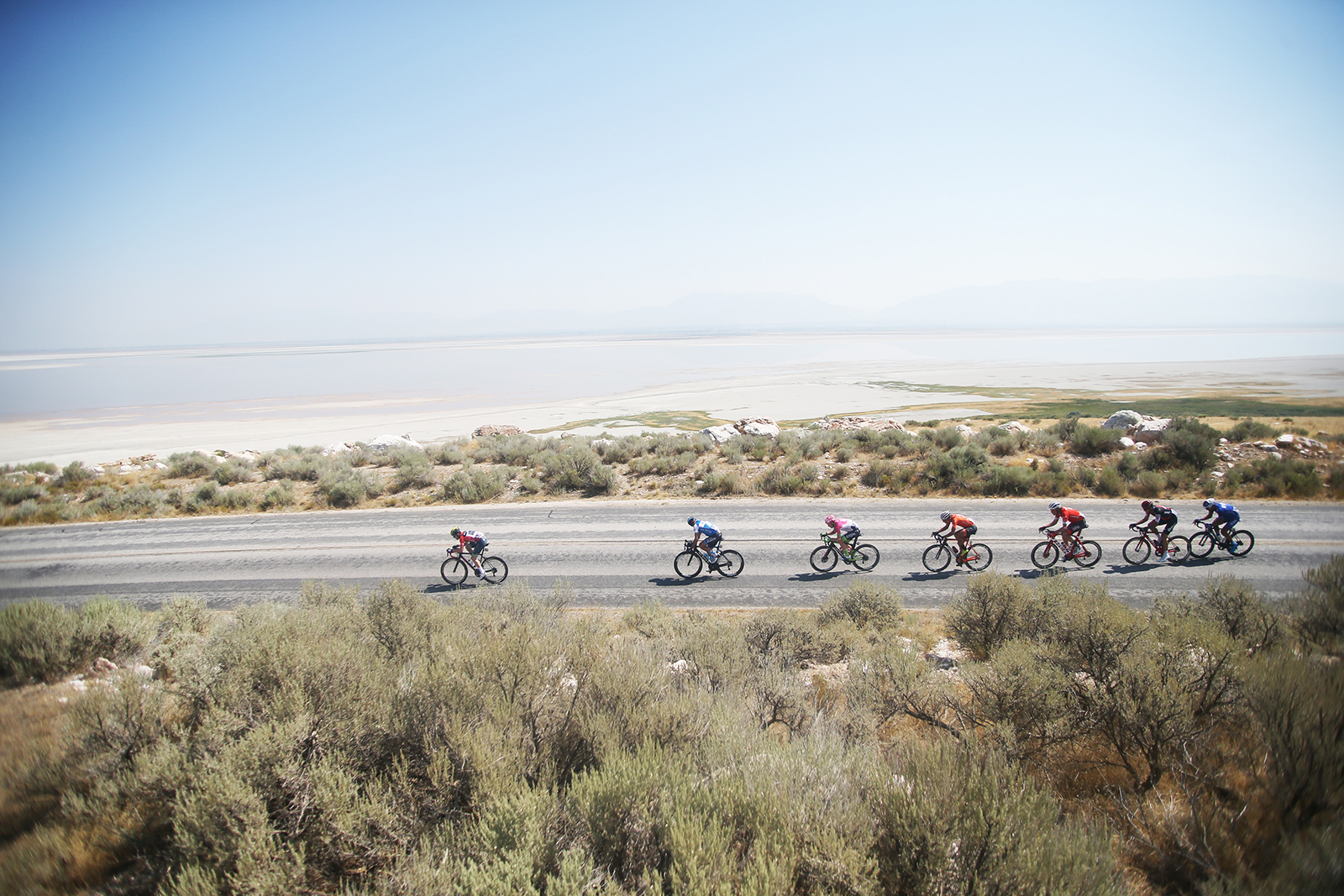 Riders try to initiate a break. 2018 Tour of Utah Stage 3, August 8, 2018, Layton, Utah. Photo by Cathy Fegan-Kim, cottonsoxphotography.net