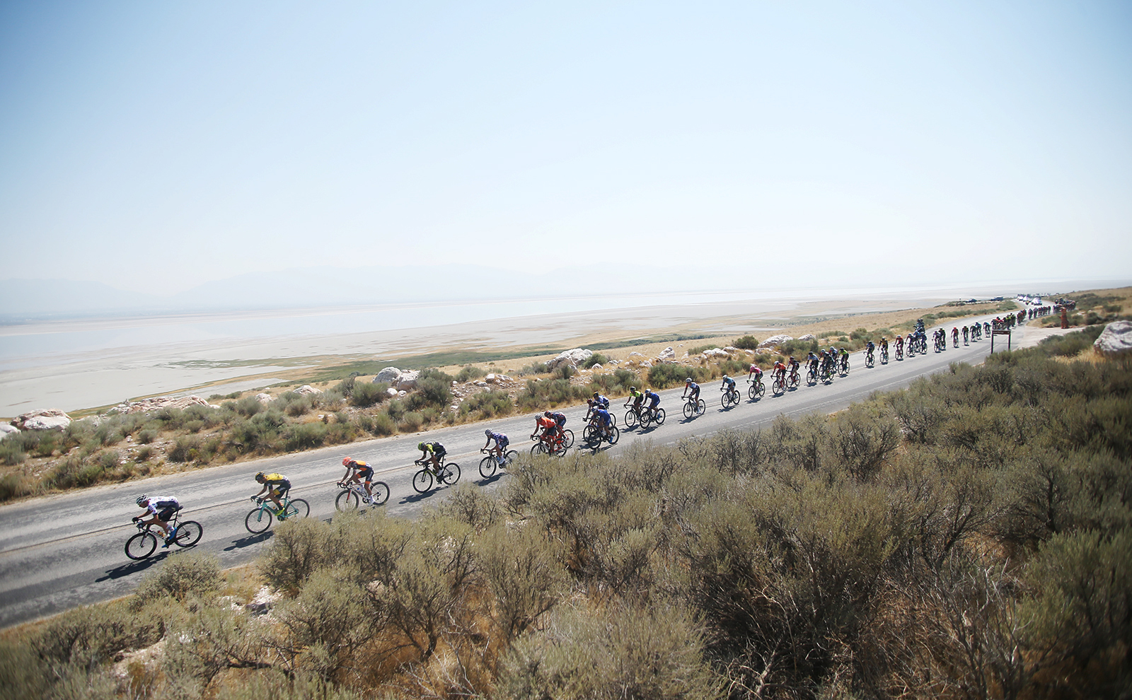 Tour of Utah, Stage 3 started on Antelope Island. 2018 Tour of Utah Stage 3, August 8, 2018, Layton, Utah. Photo by Cathy Fegan-Kim, cottonsoxphotography.net