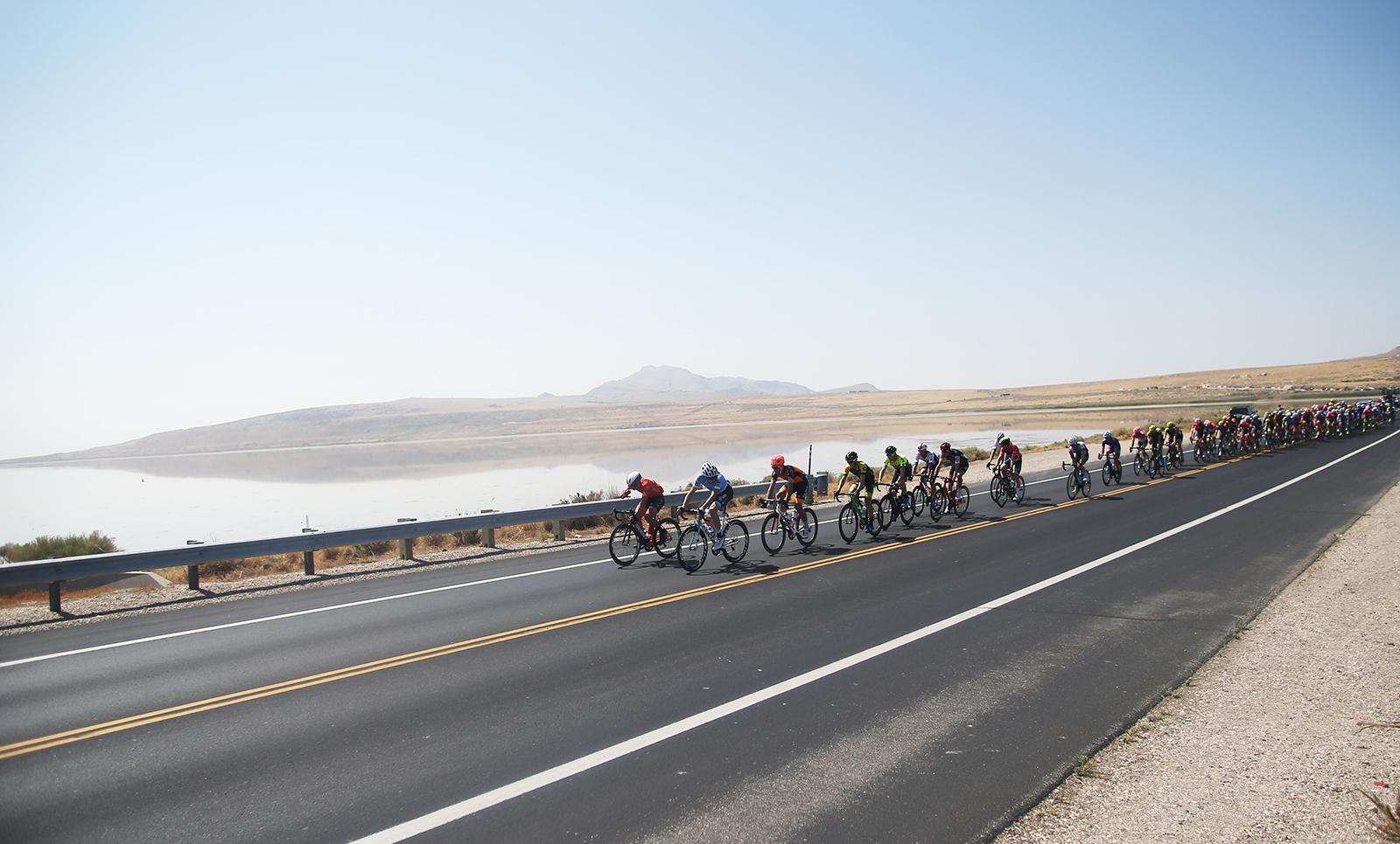 The causeway. 2018 Tour of Utah Stage 3, August 8, 2018, Layton, Utah. Photo by Cathy Fegan-Kim, cottonsoxphotography.net