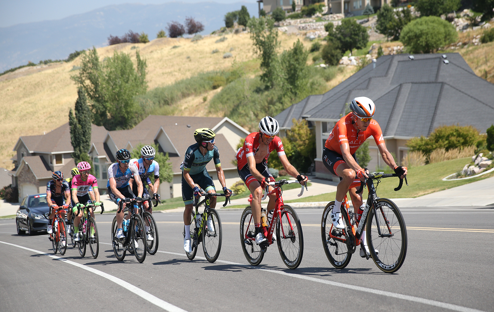 The break up to the KOM. 2018 Tour of Utah Stage 3, August 8, 2018, Layton, Utah. Photo by Cathy Fegan-Kim, cottonsoxphotography.net