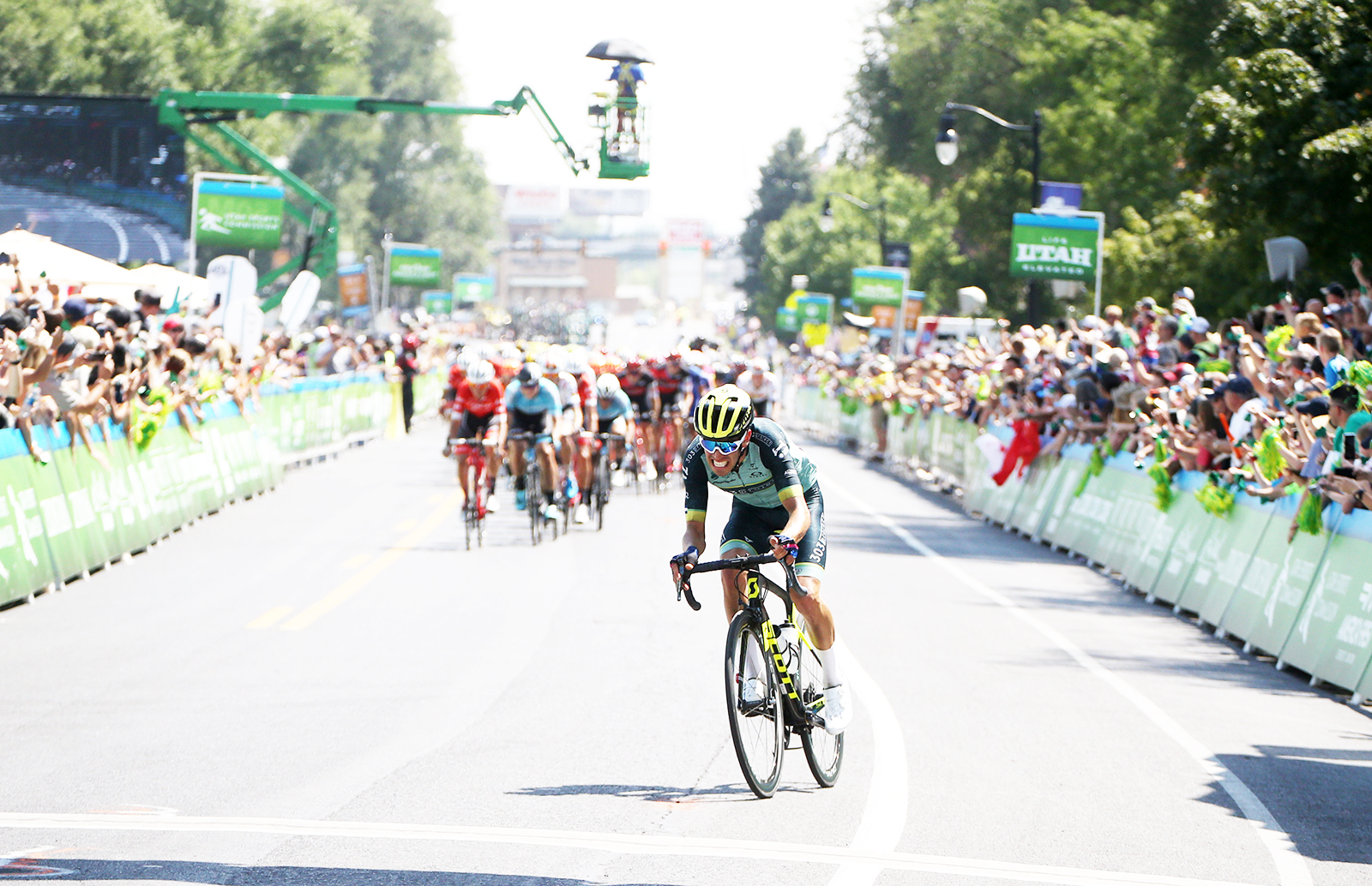303 Project tries to bridge the gap to the break at 2 to go.  2018 Tour of Utah Stage 3, August 8, 2018, Layton, Utah. Photo by Cathy Fegan-Kim, cottonsoxphotography.net