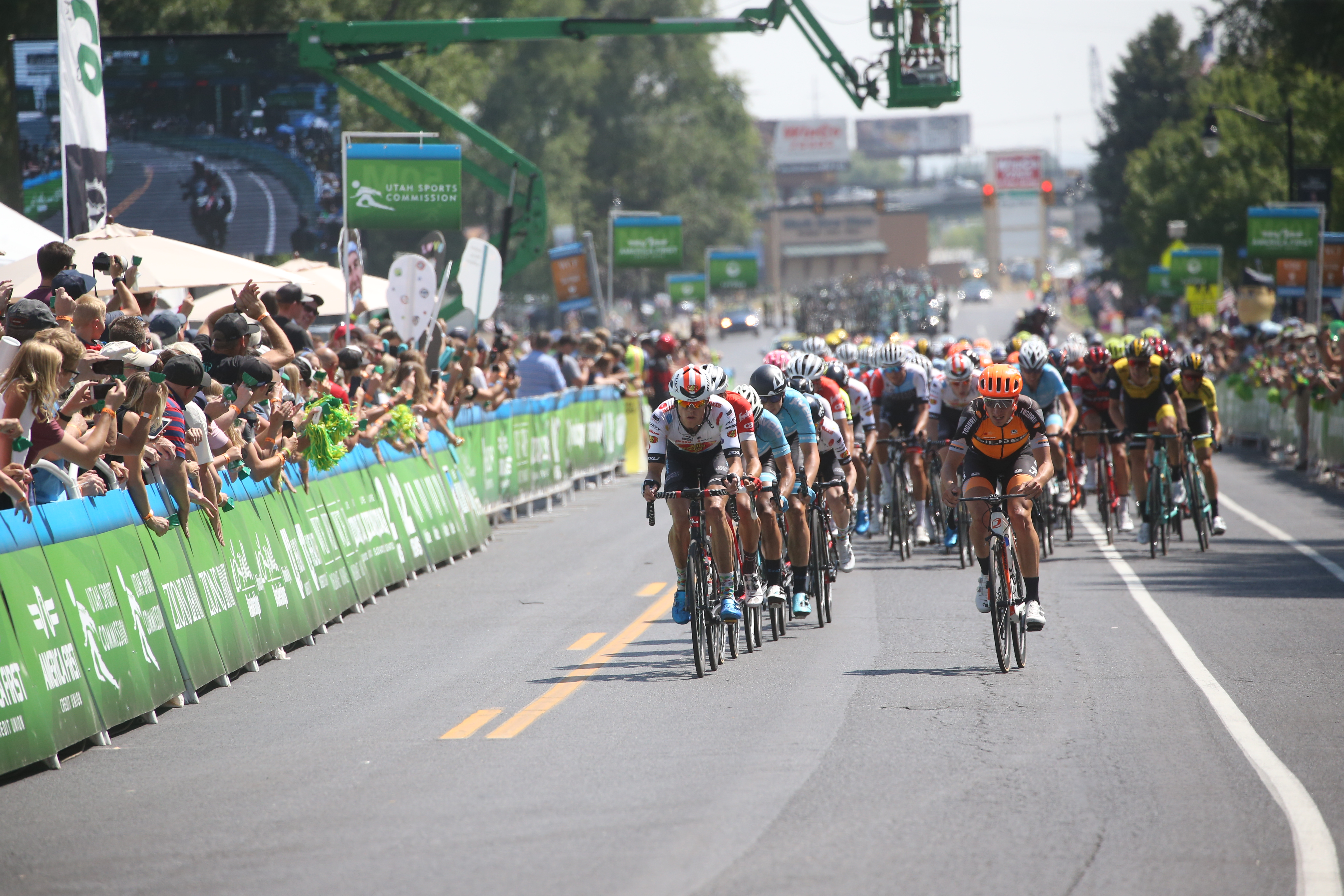 Layton out in force.  2018 Tour of Utah Stage 3, August 8, 2018, Layton, Utah. Photo by Cathy Fegan-Kim, cottonsoxphotography.net
