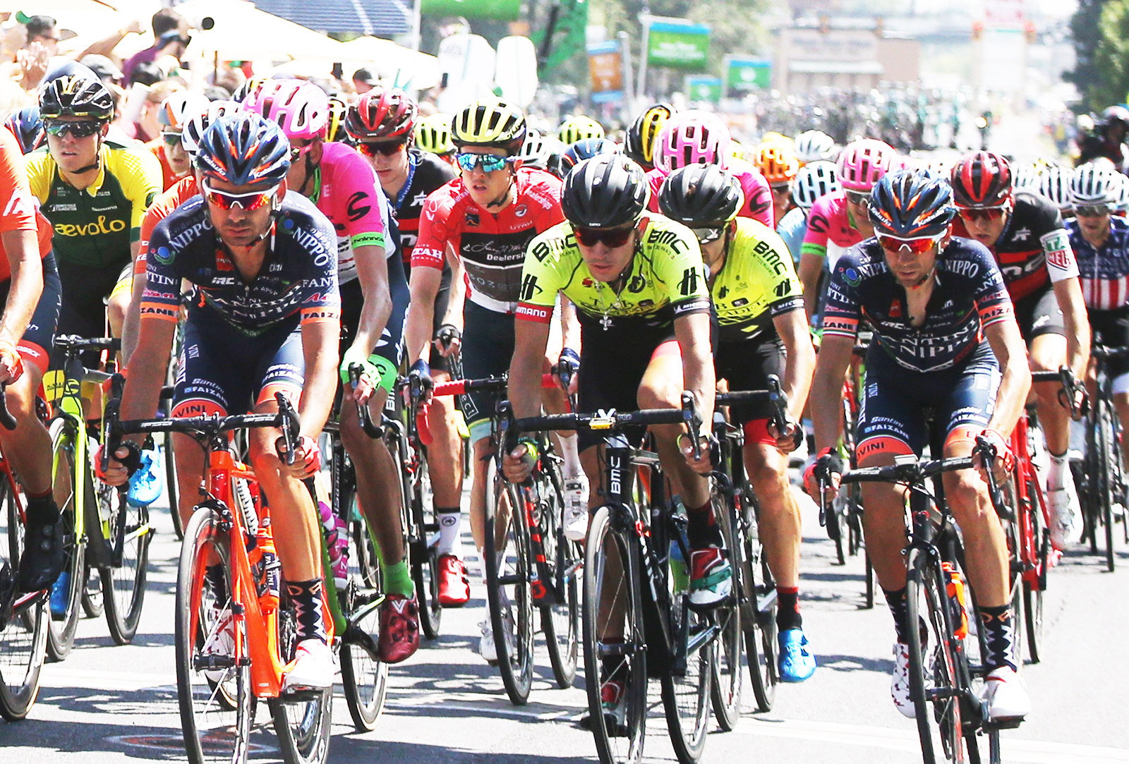 The pack. 2018 Tour of Utah Stage 3, August 8, 2018, Layton, Utah. Photo by Cathy Fegan-Kim, cottonsoxphotography.net
