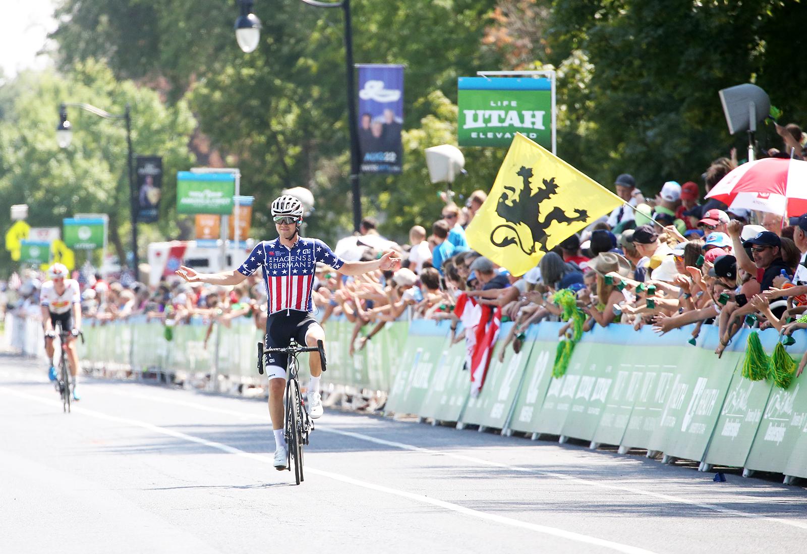 US National Champion, Jonny Brown (Hagens Berman Axeon). 2018 Tour of Utah Stage 3, August 8, 2018, Layton, Utah. Photo by Cathy Fegan-Kim, cottonsoxphotography.net