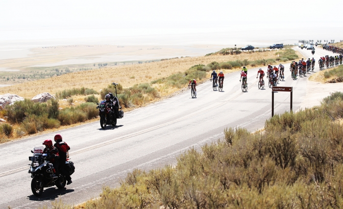 Attacks started early on Antelope Island. 2018 Tour of Utah Stage 3, August 8, 2018, Layton, Utah. Photo by Cathy Fegan-Kim, cottonsoxphotography.net