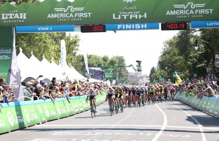 Utah crowds! 2018 Tour of Utah Stage 3, August 8, 2018, Layton, Utah. Photo by Cathy Fegan-Kim, cottonsoxphotography.net