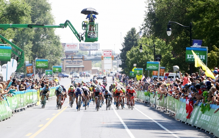 Bunch sprint.  2018 Tour of Utah Stage 3, August 8, 2018, Layton, Utah. Photo by Cathy Fegan-Kim, cottonsoxphotography.net