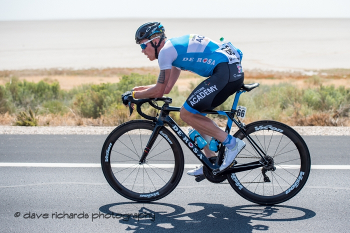 Hamish Schreurs (Israel Cycling Academy)  drillin' it along the causeway from Antelope Island. Stage 3 Antelope Island to Layton, 2018 LHM Tour of Utah cycling race (Photo by Dave Richards, daverphoto.com)