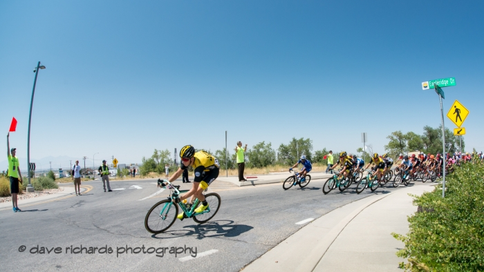 Lotto NL-Jumbo rider leads the pack into a tight turn. Stage 3 Antelope Island to Layton, 2018 LHM Tour of Utah cycling race (Photo by Dave Richards, daverphoto.com)