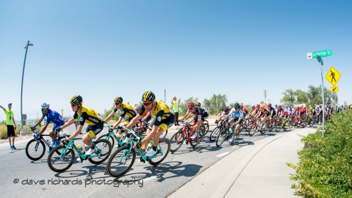 Riders negotiate a tight turn at the base of the climb for today's KOM. Stage 3 Antelope Island to Layton, 2018 LHM Tour of Utah cycling race (Photo by Dave Richards, daverphoto.com)