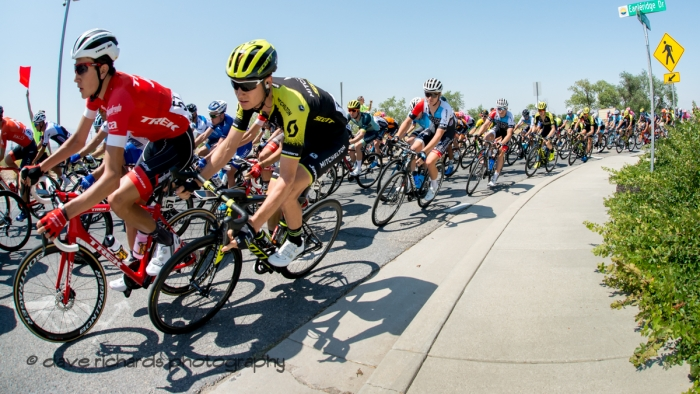 Tight formations. Stage 3 Antelope Island to Layton, 2018 LHM Tour of Utah cycling race (Photo by Dave Richards, daverphoto.com)