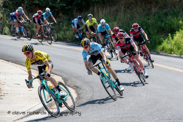 Yellow jersey race leader Sepp Kuss (Team Lotto NL-Jumbo) leads the group thru a tight fast turn on the descent from Bountiful Bench. Stage 3 Antelope Island to Layton, 2018 LHM Tour of Utah cycling race (Photo by Dave Richards, daverphoto.com)