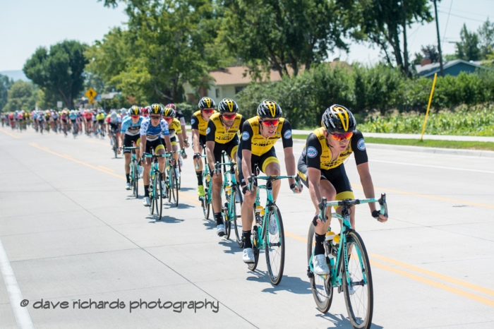 Team Lotto NL-Jumbo leads out the pelotong. Stage 3 Antelope Island to Layton, 2018 LHM Tour of Utah cycling race (Photo by Dave Richards, daverphoto.com)
