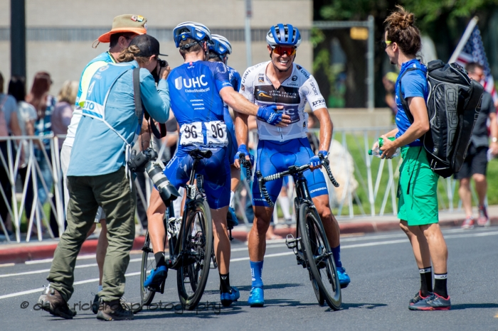 UHC teammates congratulate Travis McCabe (United Healthcare) for the stage win. Stage 3 Antelope Island to Layton, 2018 LHM Tour of Utah cycling race (Photo by Dave Richards, daverphoto.com)