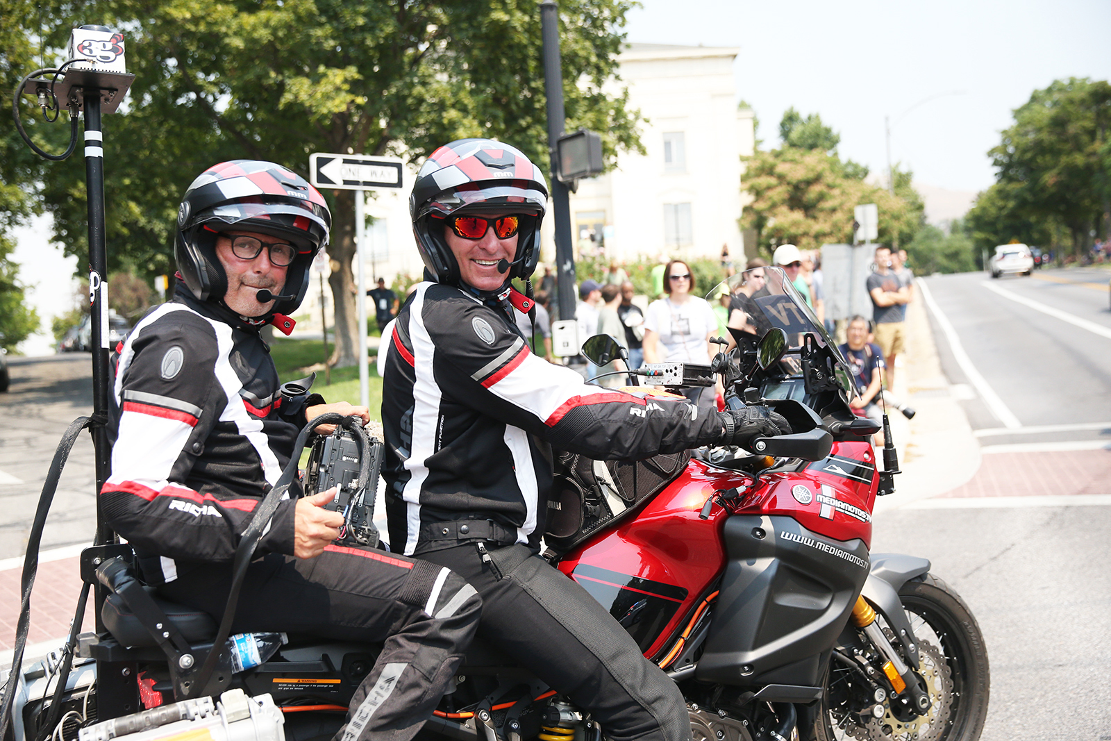 Video crew. 2018 Tour of Utah Stage 4, August 8, 2018, Salt Lake City, Utah. Photo by Cathy Fegan-Kim, cottonsoxphotography.net