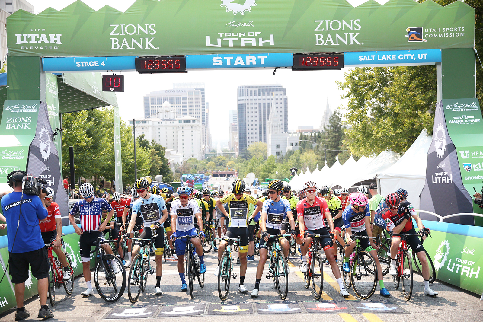 Start line and the call ups. 2018 Tour of Utah Stage 4, August 8, 2018, Salt Lake City, Utah. Photo by Cathy Fegan-Kim, cottonsoxphotography.net