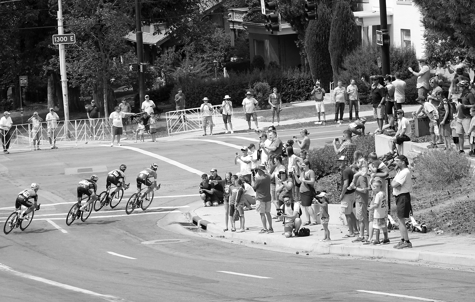 Fans cheered on the riders from various corners on the course. 2018 Tour of Utah Stage 4, August 8, 2018, Salt Lake City, Utah. Photo by Cathy Fegan-Kim, cottonsoxphotography.net
