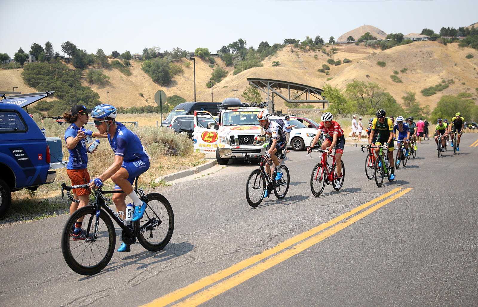 Feed zone. 2018 Tour of Utah Stage 4, August 8, 2018, Salt Lake City, Utah. Photo by Cathy Fegan-Kim, cottonsoxphotography.net