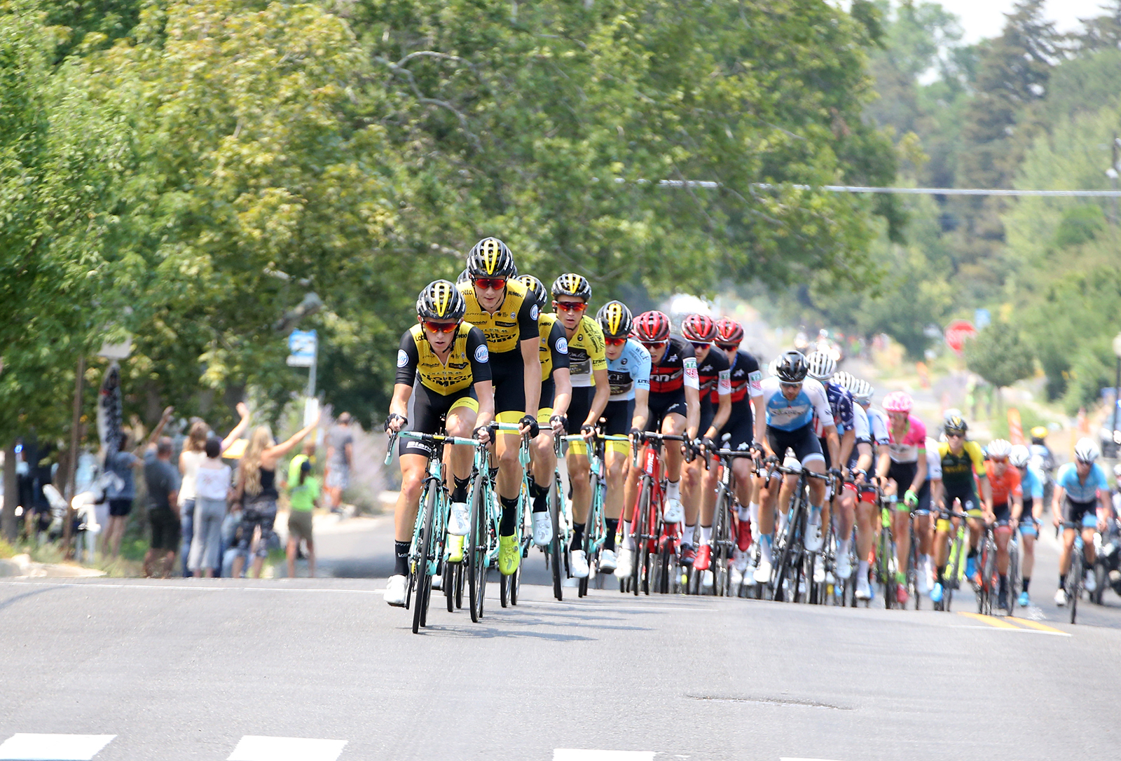 LottoNL Jumbo controlled the front most of the race. 2018 Tour of Utah Stage 4, August 8, 2018, Salt Lake City, Utah. Photo by Cathy Fegan-Kim, cottonsoxphotography.net