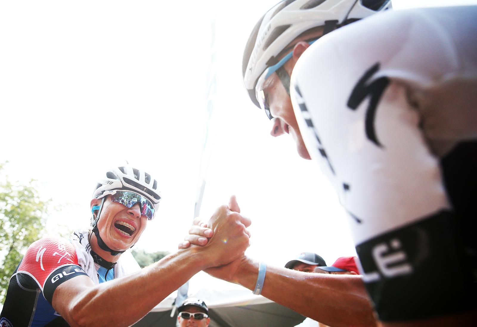 Jasper Philipsen (Hagens Berman Axeon) celebrates the win with his teammate. 2018 Tour of Utah Stage 4, August 8, 2018, Salt Lake City, Utah. Photo by Cathy Fegan-Kim, cottonsoxphotography.net