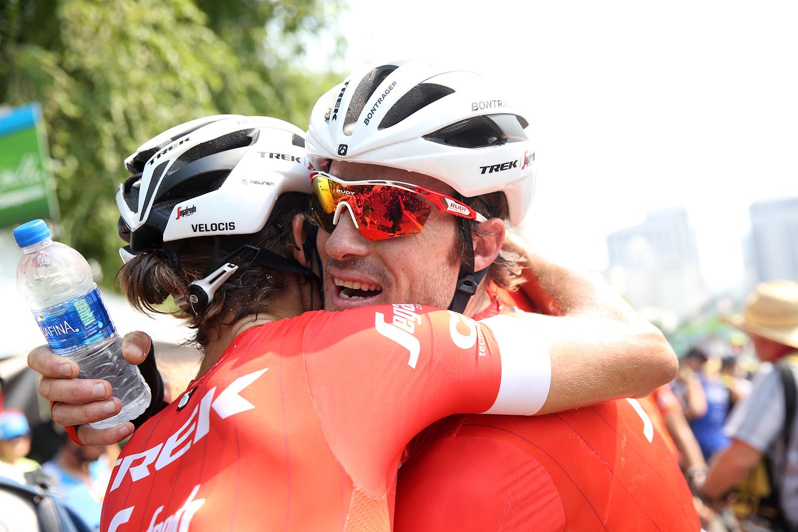 Trek Segafredo celebrates 3rd place. 2018 Tour of Utah Stage 4, August 8, 2018, Salt Lake City, Utah. Photo by Cathy Fegan-Kim, cottonsoxphotography.net