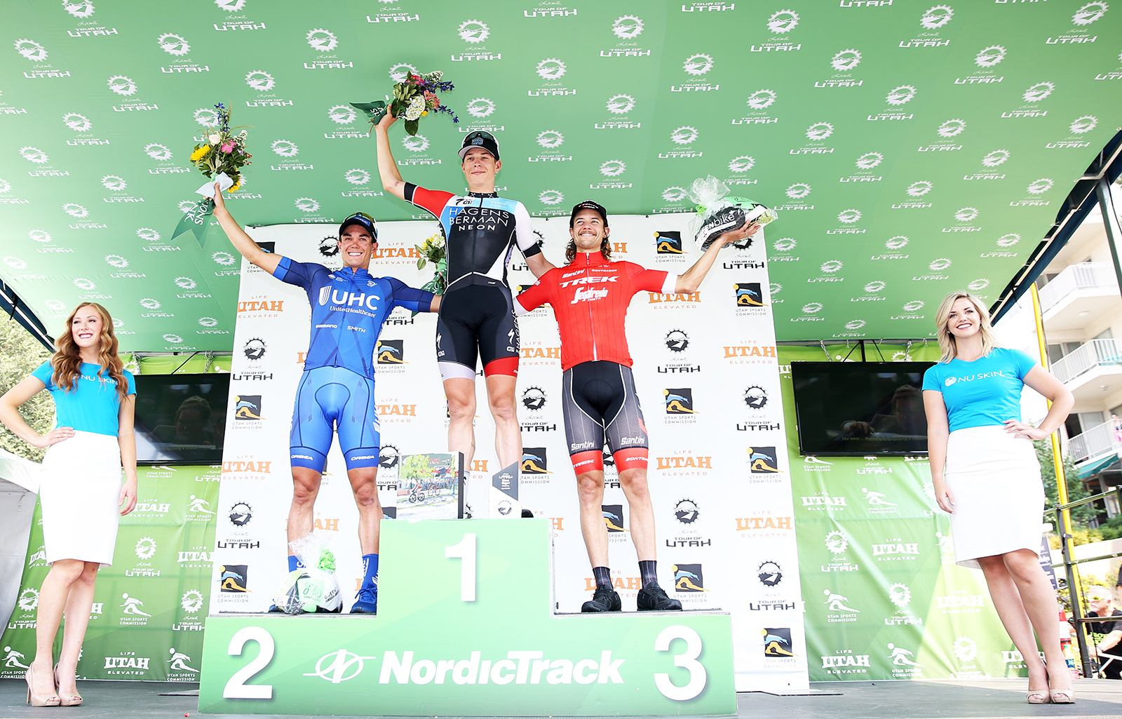 Stage 4 podium. 2018 Tour of Utah Stage 4, August 8, 2018, Salt Lake City, Utah. Photo by Cathy Fegan-Kim, cottonsoxphotography.net