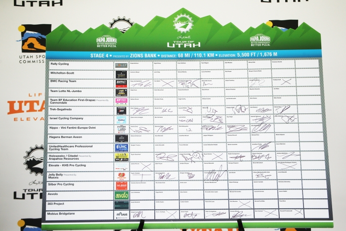 Team Sign In. 2018 Tour of Utah Stage 4, August 8, 2018, Salt Lake City, Utah. Photo by Cathy Fegan-Kim, cottonsoxphotography.net