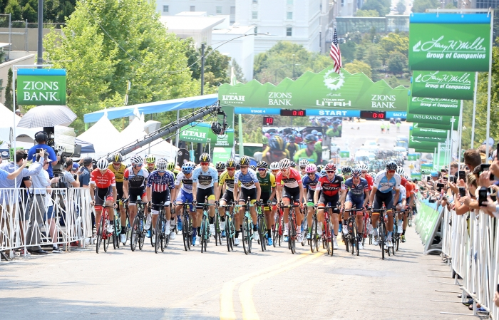 Start of the 10 lap circuit. 2018 Tour of Utah Stage 4, August 8, 2018, Salt Lake City, Utah. Photo by Cathy Fegan-Kim, cottonsoxphotography.net