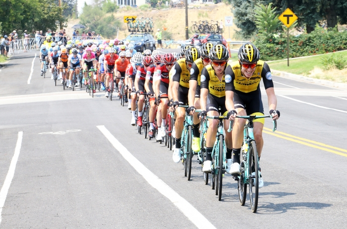 LottoNL_Jumbo controlling the front.  2018 Tour of Utah Stage 4, August 8, 2018, Salt Lake City, Utah. Photo by Cathy Fegan-Kim, cottonsoxphotography.net