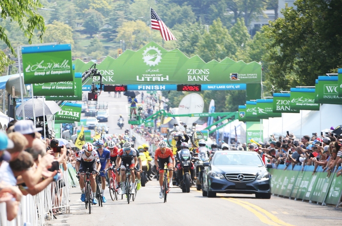 Pace up the steep hill increased as it got closer to the final lap. 2018 Tour of Utah Stage 4, August 8, 2018, Salt Lake City, Utah. Photo by Cathy Fegan-Kim, cottonsoxphotography.net