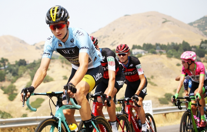 Neilson Powless in the Best Young Rider Jersey. 2018 Tour of Utah Stage 4, August 8, 2018, Salt Lake City, Utah. Photo by Cathy Fegan-Kim, cottonsoxphotography.net