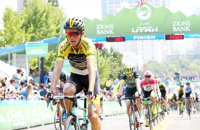 Sepp Kuss finishes Stage 4 safely.  2018 Tour of Utah Stage 4, August 8, 2018, Salt Lake City, Utah. Photo by Cathy Fegan-Kim, cottonsoxphotography.net