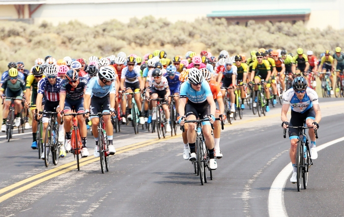 Early attacks. Stage 5 of the 2018 Tour of Utah, August 10, 2018. Photo by Cathy Fegan-Kim, www.cottonsoxphotography.net