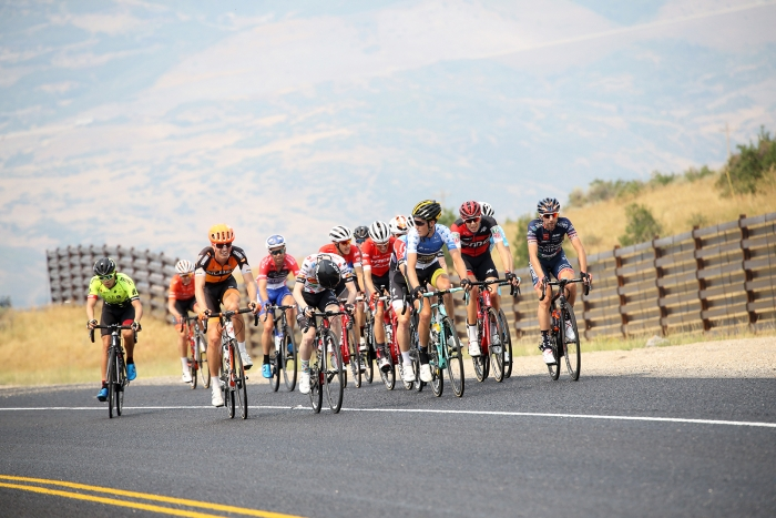 With the insane headwind, the field shattered for a while. Stage 5 of the 2018 Tour of Utah, August 10, 2018. Photo by Cathy Fegan-Kim, www.cottonsoxphotography.net