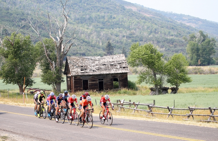 The break rides through the Park City country roads.  Stage 5 of the 2018 Tour of Utah, August 10, 2018. Photo by Cathy Fegan-Kim, www.cottonsoxphotography.net