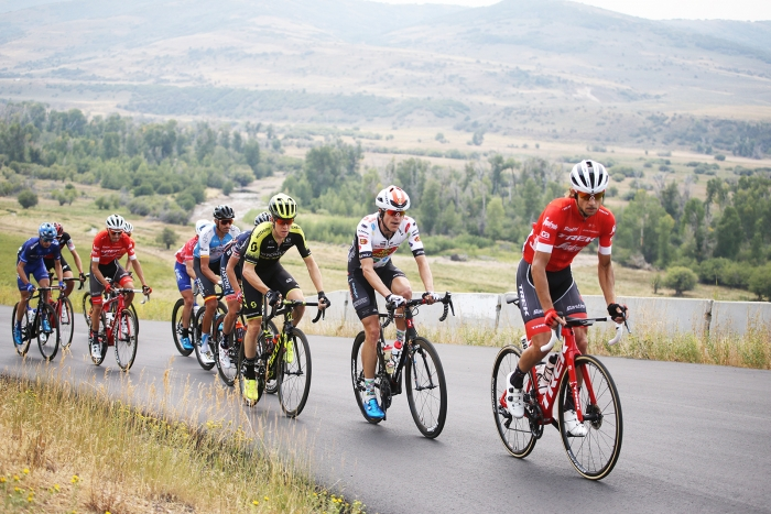 The break heads towards the gravel section.  Stage 5 of the 2018 Tour of Utah, August 10, 2018. Photo by Cathy Fegan-Kim, www.cottonsoxphotography.net