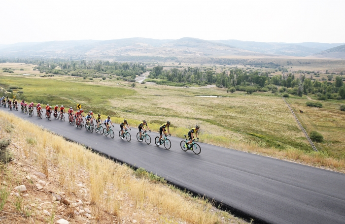 The peloton is about 4 minutes behind the break halfway through the Queen Stage.  Stage 5 of the 2018 Tour of Utah, August 10, 2018. Photo by Cathy Fegan-Kim, www.cottonsoxphotography.net