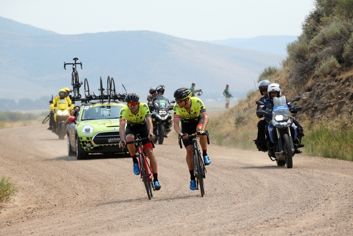The Holowesko/Citadle riders chase the break through Democrat Alley. Stage 5 of the 2018 Tour of Utah, August 10, 2018. Photo by Cathy Fegan-Kim, www.cottonsoxphotography.net