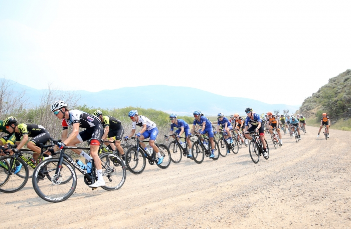 There were about 3 flats in the 2 mile gravel segment of the Queen Stage.  Stage 5 of the 2018 Tour of Utah, August 10, 2018. Photo by Cathy Fegan-Kim, www.cottonsoxphotography.net