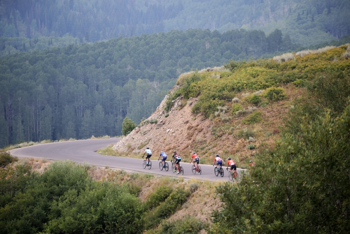 Riders head towards Guardsman Pass. Stage 5 of the 2018 Tour of Utah, August 10, 2018. Photo by Cathy Fegan-Kim, www.cottonsoxphotography.net