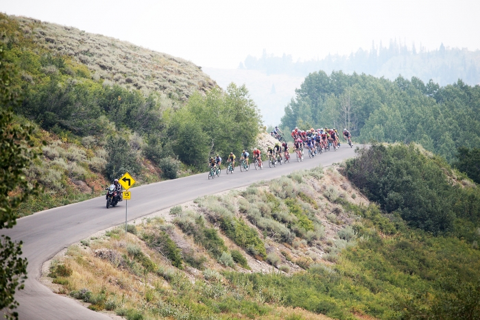A quick descent before the climb up to the second KOM of the Queen Stage.  Stage 5 of the 2018 Tour of Utah, August 10, 2018. Photo by Cathy Fegan-Kim, www.cottonsoxphotography.net