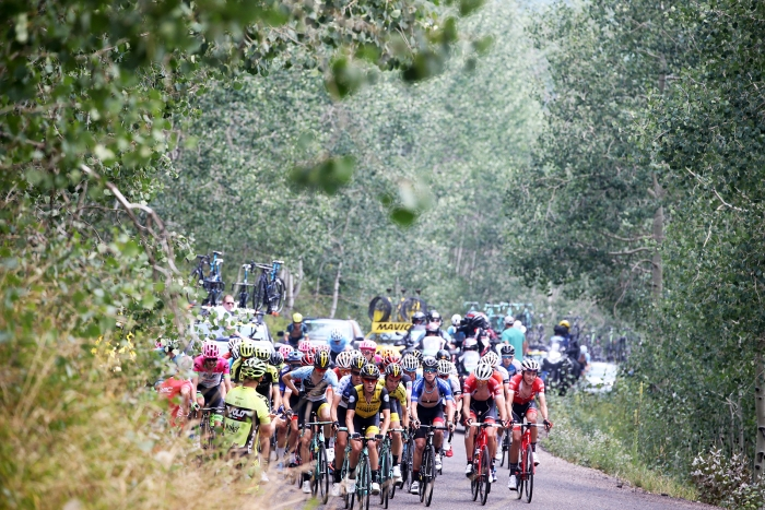 The peloton starts to close the gap.  Stage 5 of the 2018 Tour of Utah, August 10, 2018. Photo by Cathy Fegan-Kim, www.cottonsoxphotography.net