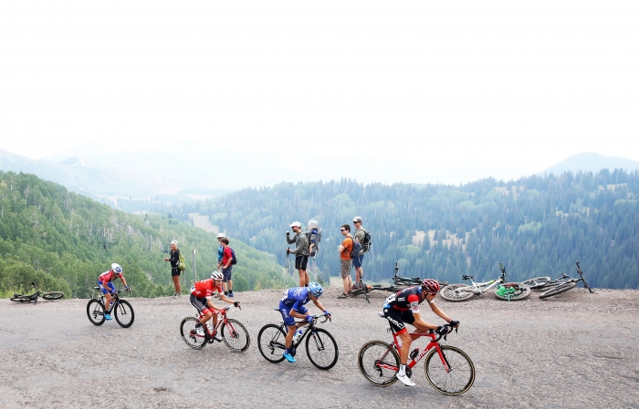 200 meters to the KOM.  Stage 5 of the 2018 Tour of Utah, August 10, 2018. Photo by Cathy Fegan-Kim, www.cottonsoxphotography.net